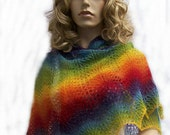 Piece of the rainbow (knitted shawl) kauni lace red blue