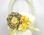 Gray Yellow Flower Girl basket - Bridal Basket in Ivory or White Adorned with Handmade Flowers with Swarovski Crystal and Pearls