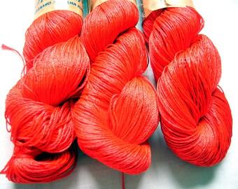 "Summer yarn. Viscose Silk Yarn. Shining, Superfine / Lace weight, bright yarn. Crochet yarn. Yarn ""ajur"". Color: red (03). DSH"