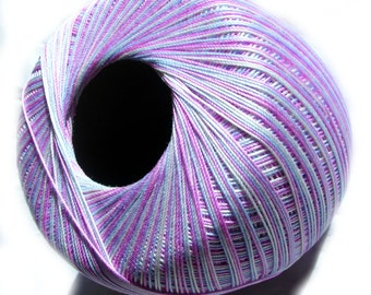 Crochet Yarn 100% mercerised gassed Cotton (mercerized cotton). Hypoallergenic. Multicolor in shades of light pinks and blues.
