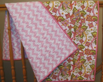 """Sale Baby Girl Riley Blake Bohemian Festival and Baby Pink Chevron Girl Quilted Blanket ---40"""" x 49"""""""