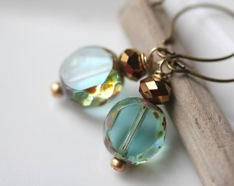 Aqua Glass Earrings, Aqua Dangle Earrings, Teal Earrings, Bluegreen Earrings, Simple Earrings