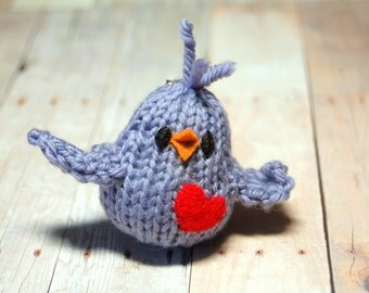 Bird Brooch- Little Purple Bird with Heart Lapel Pin - Knit - Valentine's Day - Mother's Day - Spring - Natural Fibers - Merino