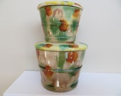 Vintage Canisters Yellowware Japan Spongeware 1920 to1930 Decorative Stoneware As Is Great lids