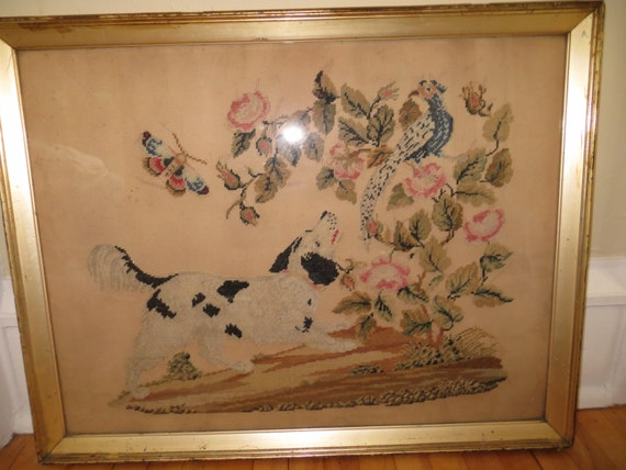 Vintage PUNCH PAPER EMBROIDERY Large Framed Art One of A Kind Dog in Outdoor Scene