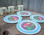 Vintage Toy Plates, Plastic Childrens Toy Plates, Chilton Toy Plates