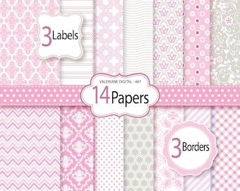Pink Digital paper, digital scrapbook, damask digital paper, digital backgrounds - 14 jpg files 12x12 - INSTANT DOWNLOAD Pack 447