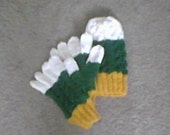 Hat and Glove Set in Gold Green and White