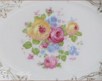 Lovely Vintage CROOKSVILLE Roses SERVING BOWL, Pink Roses, Cottage Chic