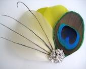 Wedding Bridal Ivory Canary Yellow Peacock Feather Rhinestone Jewel Head Piece Hair Clip Fascinator Accessory