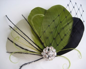 Wedding Bridal Ivory Black Olive Green Feather Rhinestone Jewel Head Piece Hair Clip Fascinator