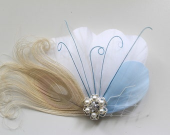 Wedding Bridal White Ivory Peacock Light Blue Feather Rhinestone Jewel Head Piece Hair Clip Fascinator Accessory Something Blue