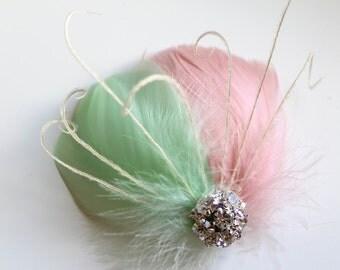 Wedding Bridal Bridesmaid Light Pink Mint Green Feather Rhinestone Jewel Head Piece Hair Clip Fascinator Accessory