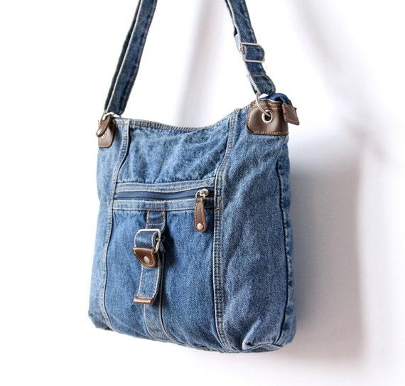 Denim Messenger Tote Bag Blue Jean School Office Purse Book