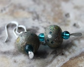 lampwork glass dangle earrings organic teal and silver