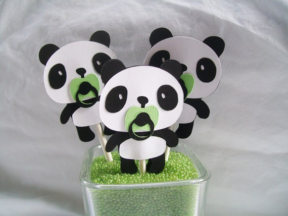 Panda bear cupcake toppers baby shower by nancysbannerboutique for Panda bear decor