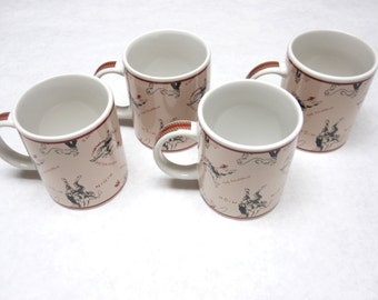 Cowboy Coffee Mugs Cups Set of 4 Black Tan Red White