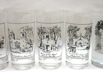 Drinking Glasses Texas New Mexico Missions Souvenir Drinking Glass Set of Five Alamo
