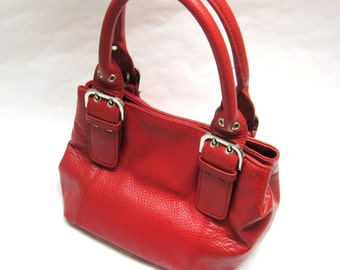 Red Purse Chunky Buckle  Handbag
