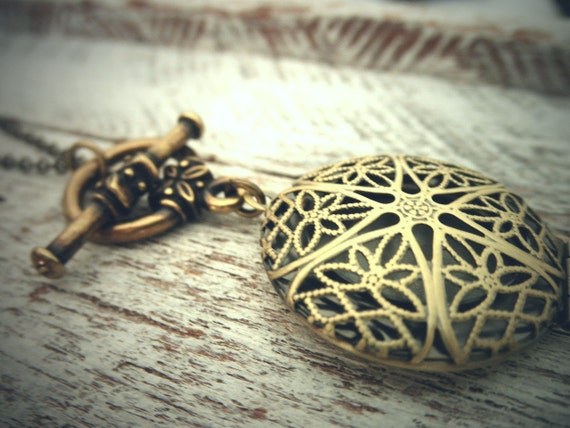 Antiqued Adjustable Length Filigree Locket Lariat with Toggle Clasp by Coughing Cow & Chicken