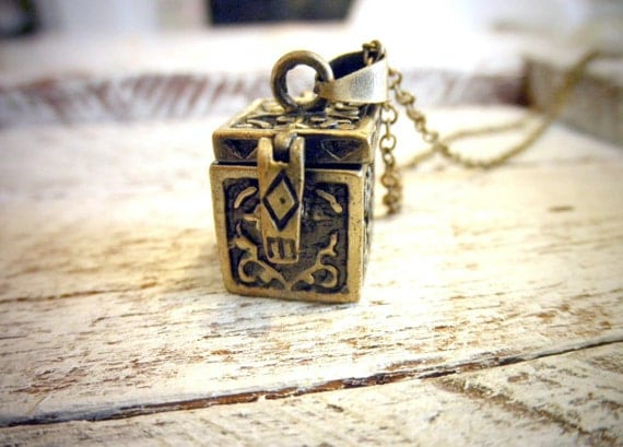 Tiny Little Treasure Chest Charm You Can Wear-Antique Finished Prayer Box Necklace-  By Coughing Cow & Chicken