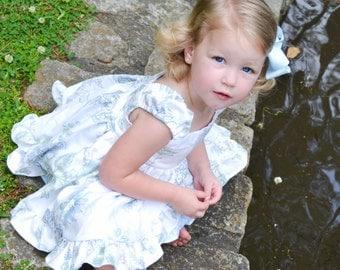 Size 2T Baby Girl Blue and White Girls Ruffled Dress