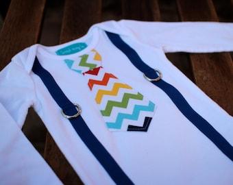 Rainbow Chevron Tie and Suspenders Shirt Bodysuit Primary Colors Little Man Baby Boy