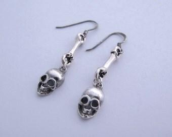 Skull Earrings Skull Jewelry Skull Jewellery Day of the Dead Jewelry Sterling Silver Calavera Día de los Muertos Jewelry Anatomy Jewelry