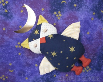 Stuffed toy Sleepy Owl -  Starry Night Owl softie  handmade by Joyful River