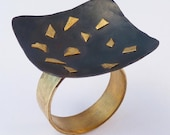 Starry night ring with hammered square bowl