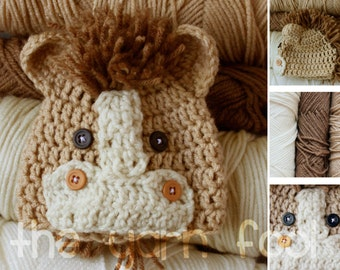 Crochet Horse Hat Newborn, Infant, Toddler, Youth, and Adult Size