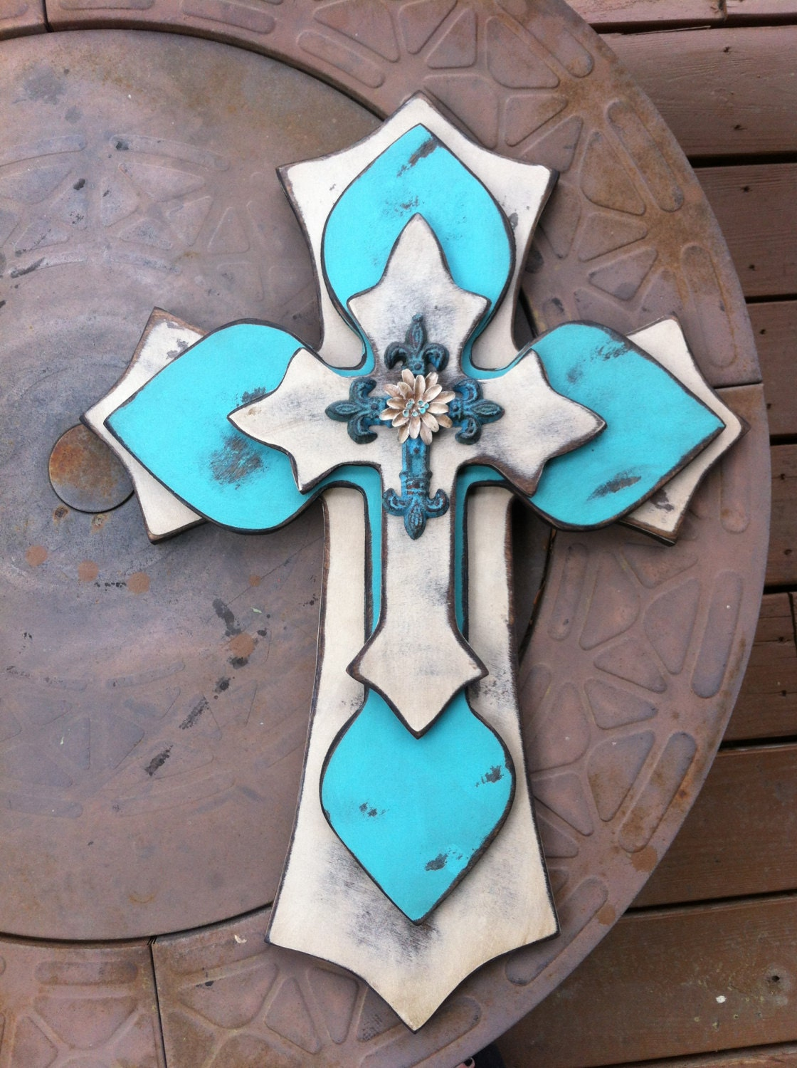wood wall cross large shabby chic turquoise wall decor. Black Bedroom Furniture Sets. Home Design Ideas