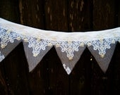 Wedding Banner, Beaded Lace and Netting, Birthday Banner