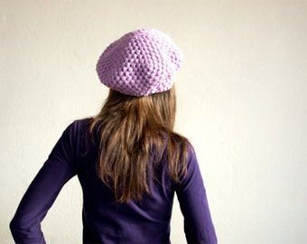 Pure Wool Crochet Beret in Lavender Purple, Hand-knitted Natural Winter Accessories, Bohemian Fashion
