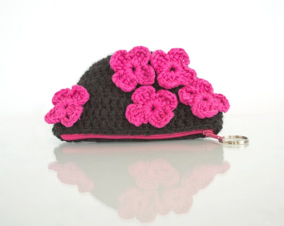 Crochet Coin Purse with Flowers in Hot Pink and Black, Romantic Pouch