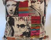 Retro Pillow Cover in Fashion Magazine Print