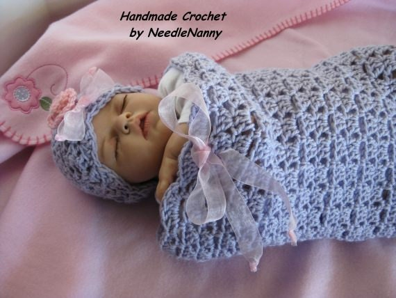 Crochet Cocoon Baby Swaddle Sack Baby Orchid Cuddle by ...