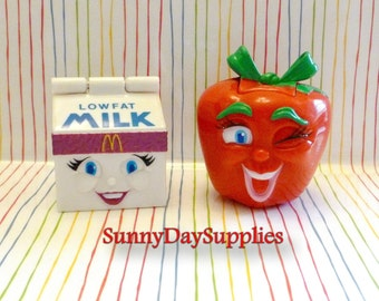 Vintage McDonald's Happy Meal Toys -  Changeable / Transformer-  Milk and a Bright Red Apple  ~ 1990 McDonalds Food toys