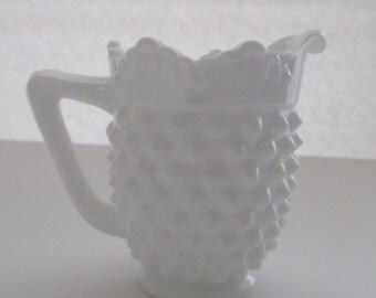 Vintage Milk Glass Mini Pitcher--Milk Glass Creamer--Collectible Milk Glass