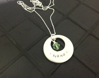 Personalized Hand Stamped Necklace Nickel Silver