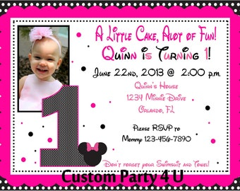 Pink and Black Minnie Inspired Invitations with Photo