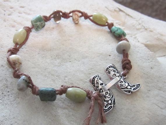 Beaded Bracelet/Western Bracelet/Macrame Bracelet/Horse Jewelry/Hemp Jewelry/Cowgirl Jewelry/Southwestern Jewelry