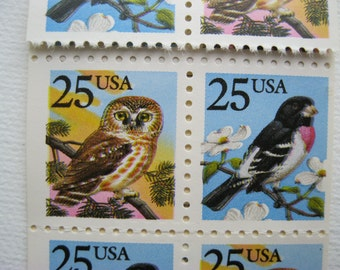 Discounted Sixteen US Color Shift Error Postage Stamp 1988 In Book 25 cent Owl and Grosbeak Birds