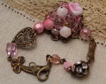 Pink Bracelet repurposed vintage earring
