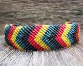 Handmade Micro Macrame Friendship Bracelet in Rasta Colors