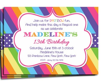 Rainbow Invitation Printable or Printed with FREE SHIPPING - Rainbow Birthday or Baby Shower Invite