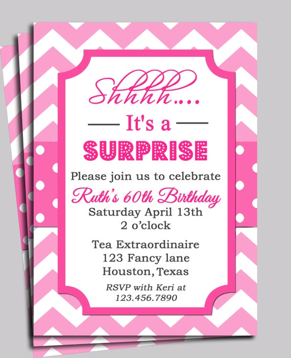 Chevron Invitation Printable or FREE SHIPPING You Pick Wording