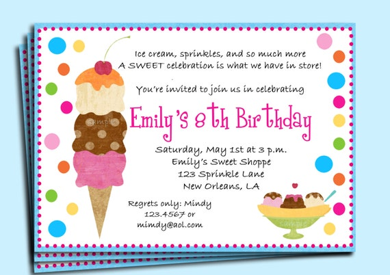 Ice Cream Birthday Party Invitation Printable or Printed with – Ice Cream Party Invites