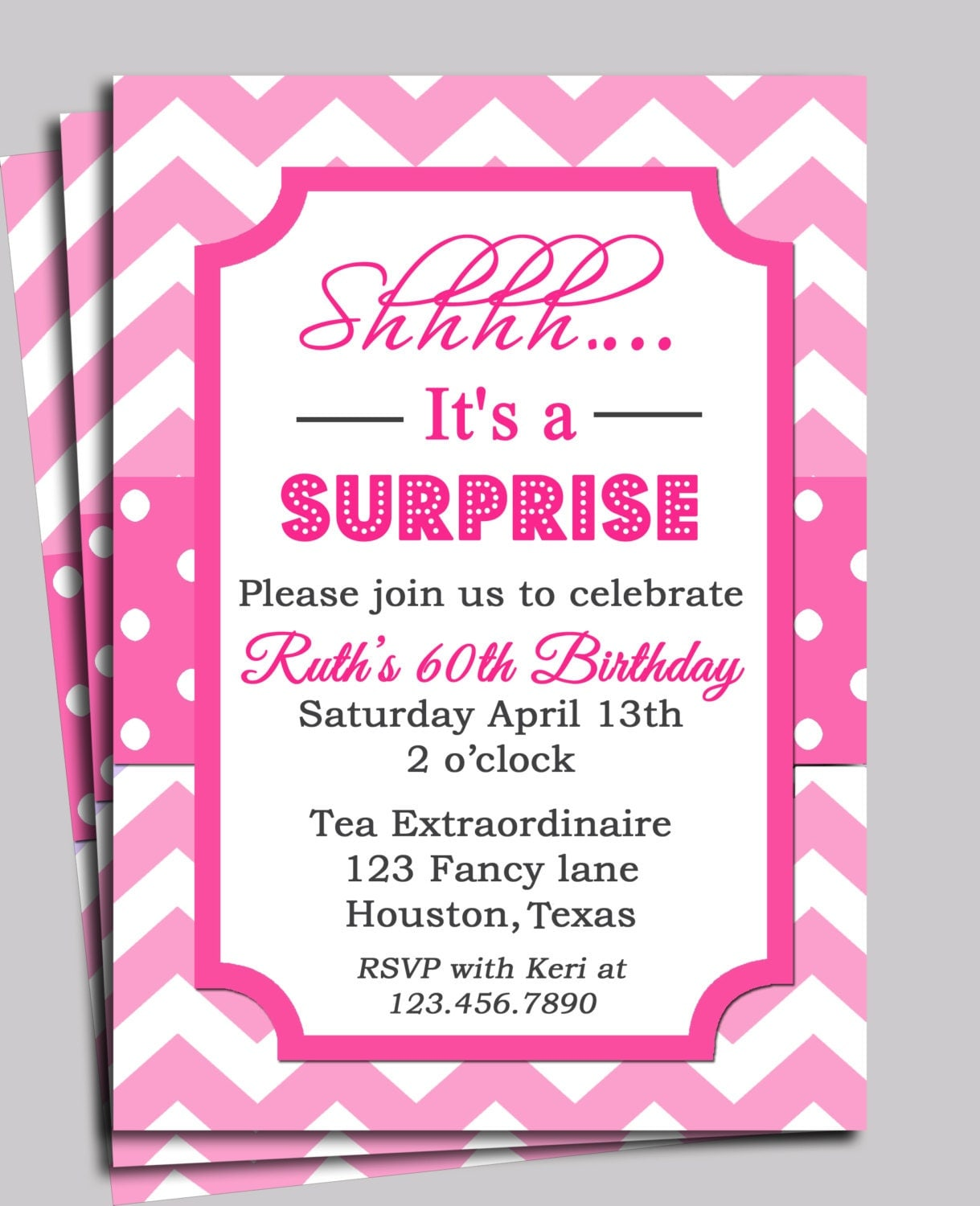 chevron invitation printable or shipping you pick 128270zoom