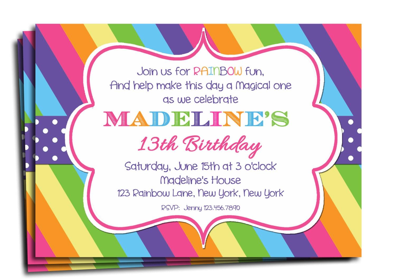 Rainbow Party Invite was best invitation sample